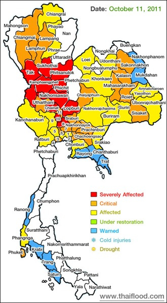 Thailand flooding Oct 11 2011 Map of affected areas links to