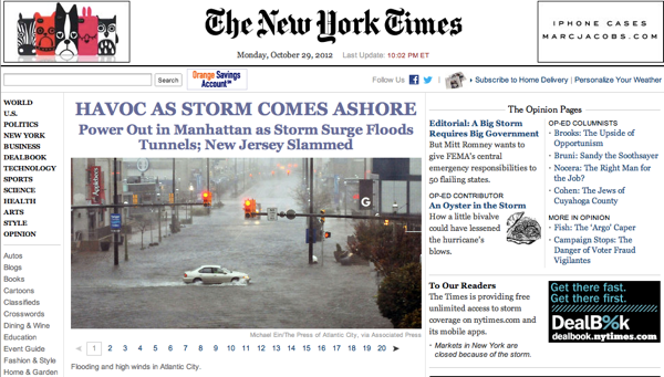 2012 10 29 sandy nyt home page
