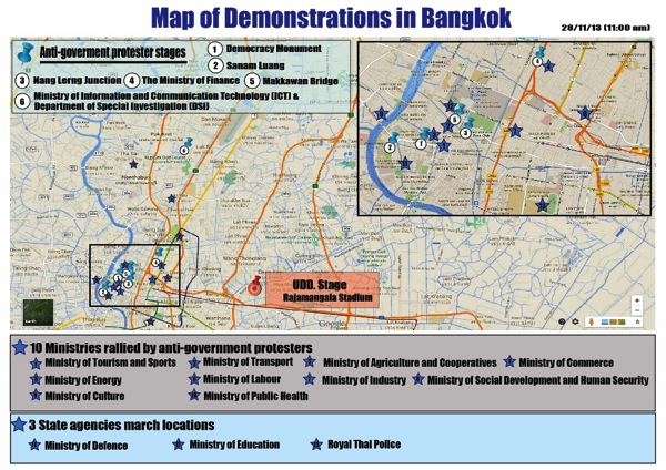 2013 11 29 bangkok protests map