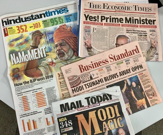 modi election front pages