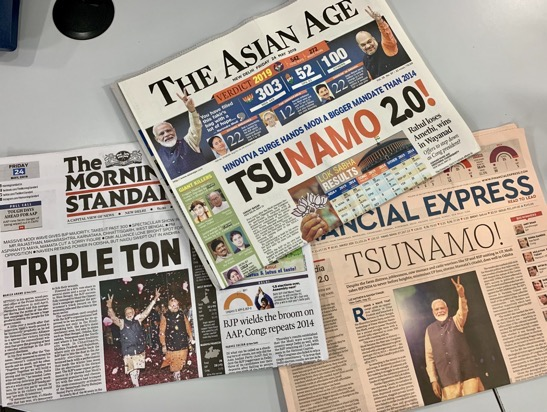 more modi election front pages