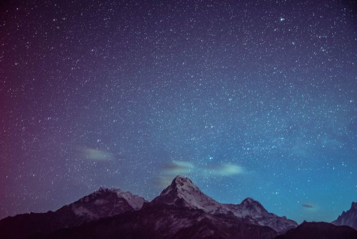 mountains and nighttime sky