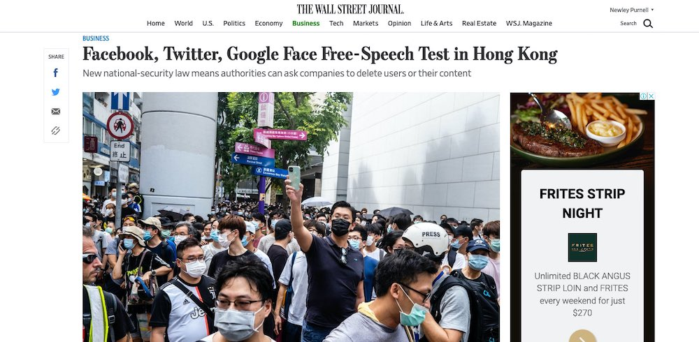 Facebook, Twitter, Google in Hong Kong