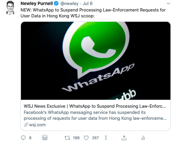 Tweet about WhatsApp and Hong Kong