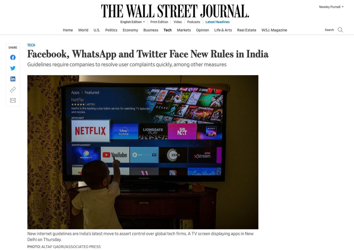 New tech rules in India
