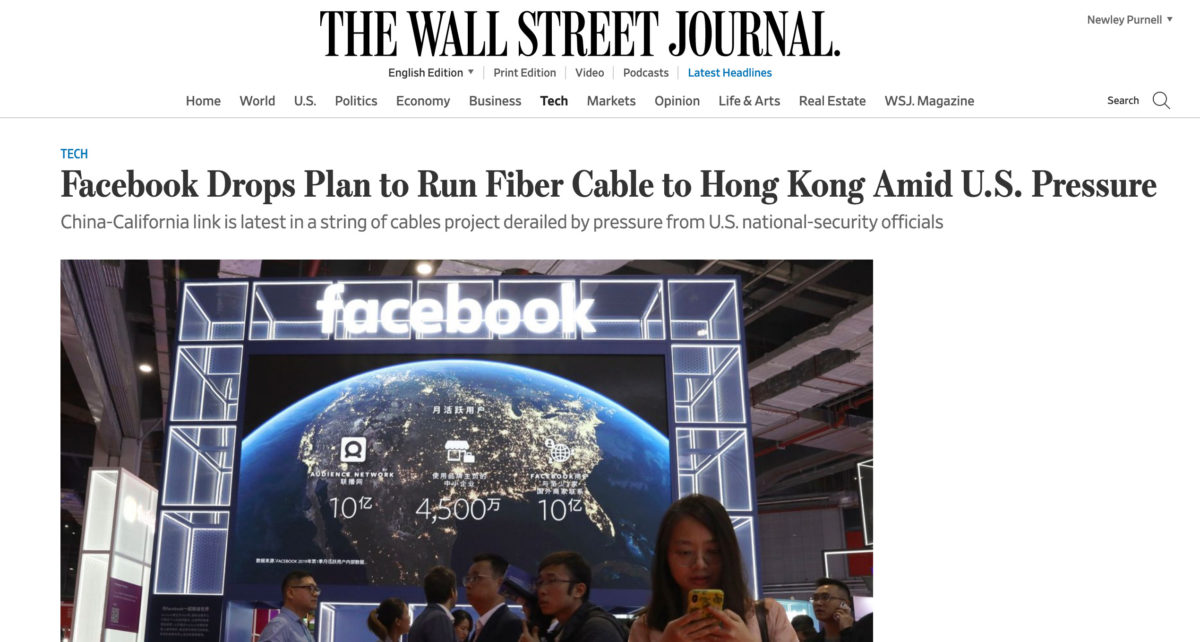 Facebook cable HK US