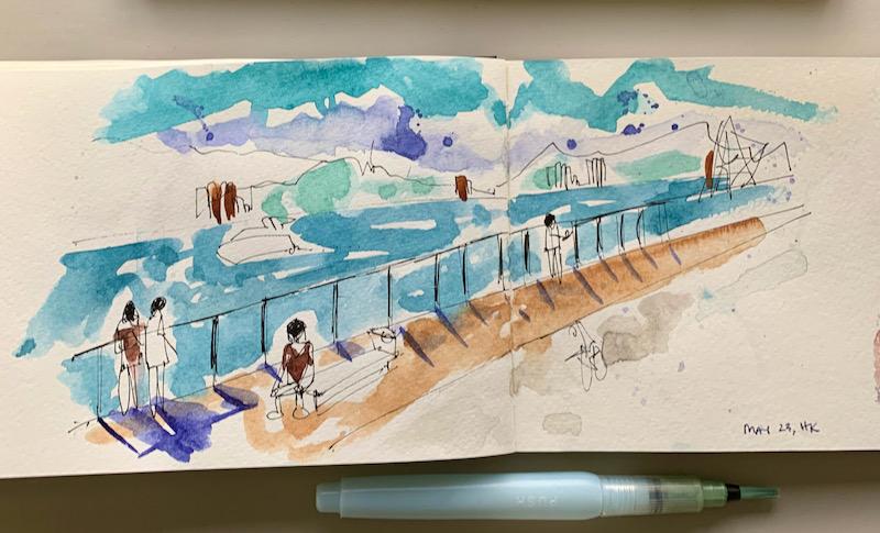 Watercolor of Hong Kong waterfront