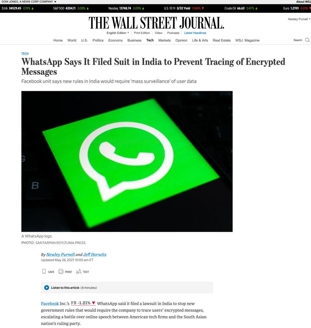 WhatsApp India lawsuit WSJ
